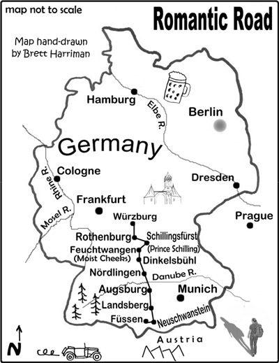 Road Map Of Germany And Austria.Romantic Road Map Brett Harriman