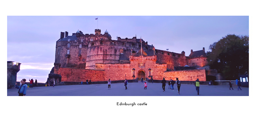 Edinburgh castle at sundown